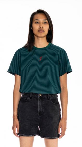 T-shirt à rayure surfeur  VERT FORÊT/BLEU
