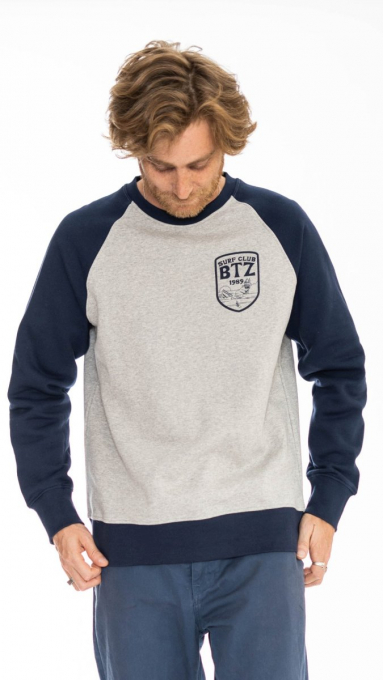Sweatshirt bicolore Surf Club GRIS CHINÉ/MARINE